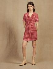 Vestido Corto Estampado De Seda : null color Rojo