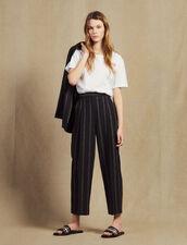 Pantalón Con Pinzas De Rayas A Juego : Pantalones color Negro