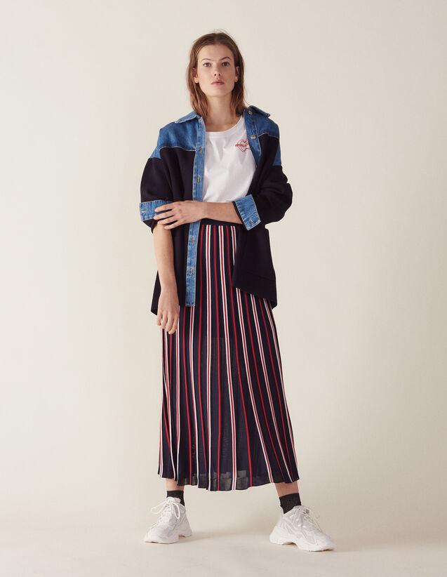 Falda Larga Plisada De Punto : Faldas & Shorts color Marino