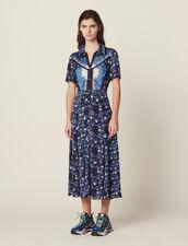 Vestido Camisero Largo Fluido Estampado : Vestidos color Azul