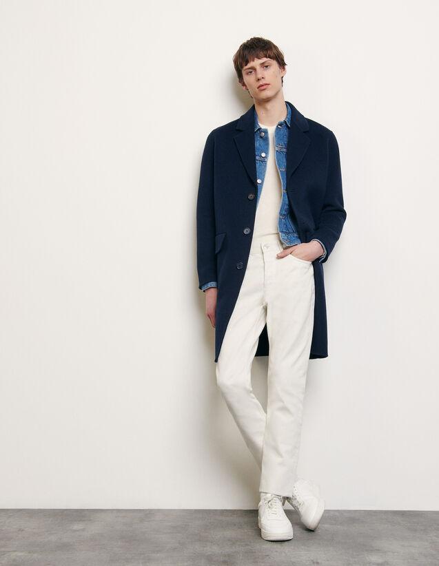 Abrigo de lana de doble cara : Colección de Verano color Marino