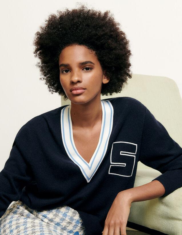 Jersey con cuello en V e inicial S : Nueva Colección de Verano color Navy