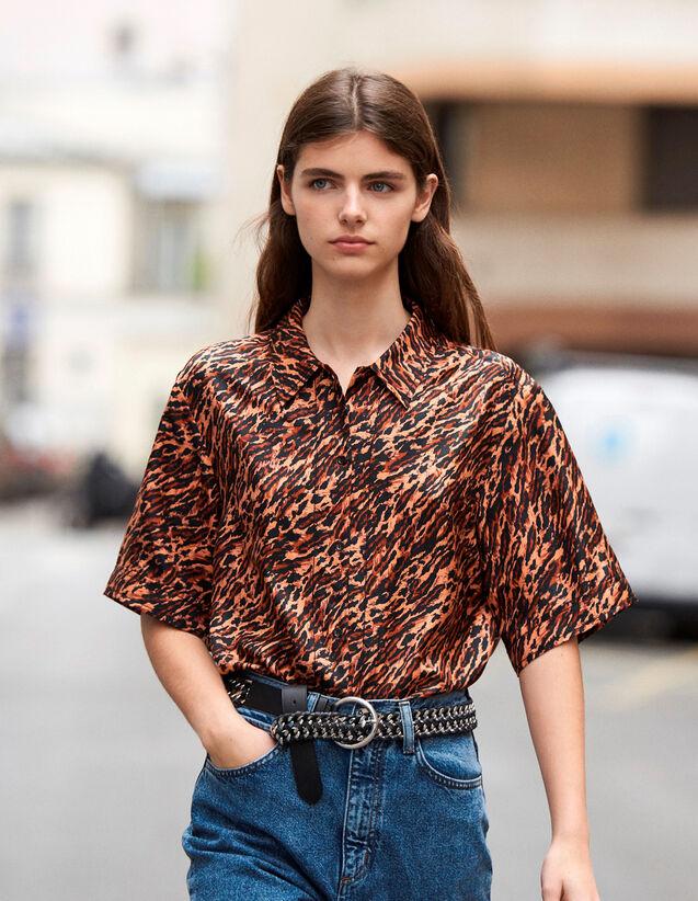 Camisa Estampada De Twill De Seda : Novedades color Brown