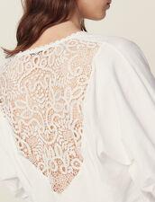 Camiseta Con Espalda De Encaje : null color Crudo