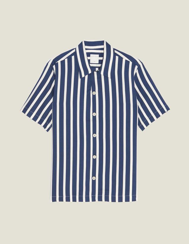 Camisa Manga Corta De Rayas En Contraste : Camisas color Marino