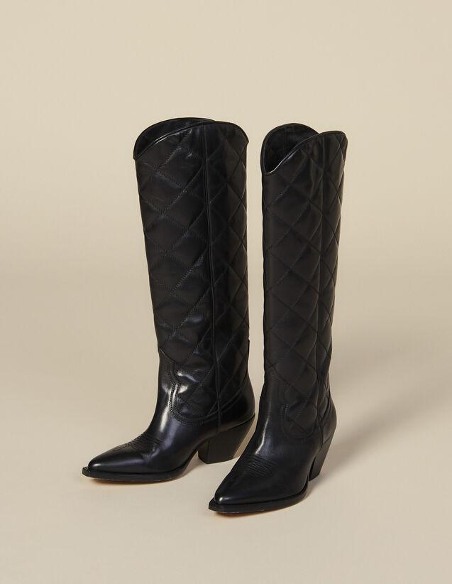 Botines cowboy altos de piel acolchada : -50% color Negro