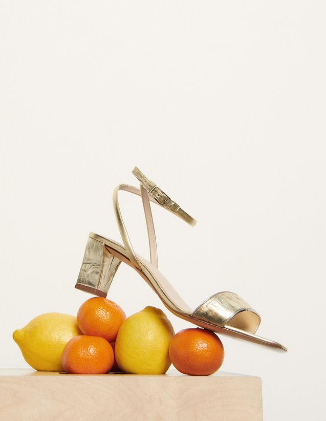 Sandalias de piel de cocodrilo repujada : Todos Zapatos color Oro