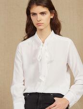 Camisa De Cuello Con Gorguera : Tops & Camisas color Blanco
