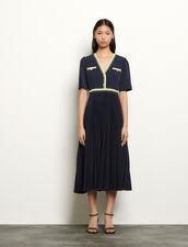 Vestido largo plisado de manga corta : Vestidos color Marino