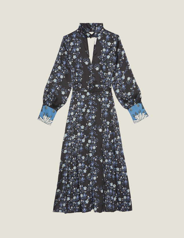 Vestido Midi Con Estampado Y Cuello Alto : null color Azul