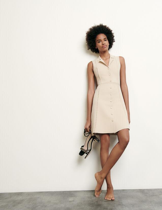Vestido corto de punto con cuello sastre : Nueva Colección de Verano color Beige