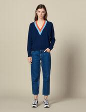 Jersey de punto y pasamano bicolor ancho : -20% color Marino