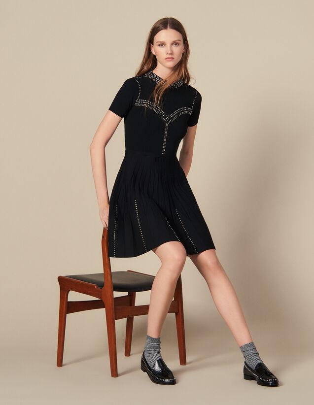 Vestido Corto De Punto Con Tachuelas : Vestidos color Negro