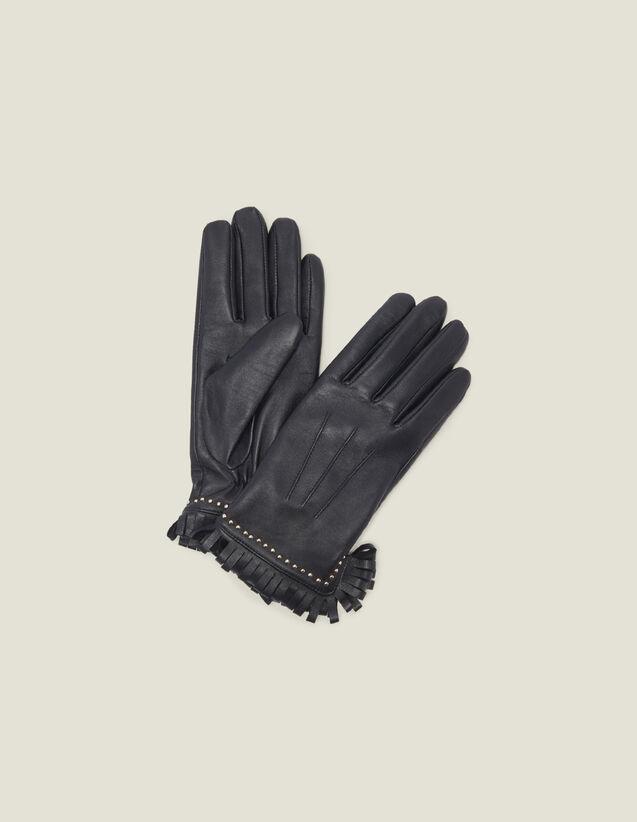 Guantes De Piel Con Tachuelas Y Flecos : Guantes & Gorros color Negro