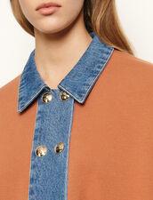 Cárdigan oversize con insertos de denim : Jerseys & Cárdigans color Brown