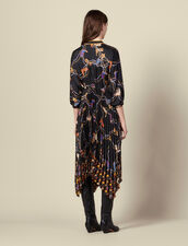Vestido largo estampado, falda plisada : -40% color Negro