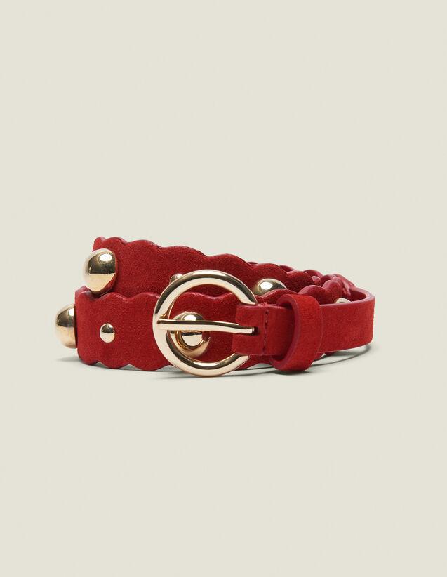 Cinturón De Piel Con Adornos : null color Rojo