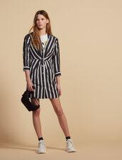 Vestido Corto De Rayas Con Cuello En V : null color Negro