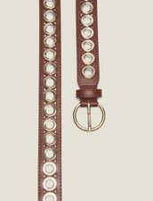 Cinturón, Hebilla Redonda Y Ojales : null color Camel