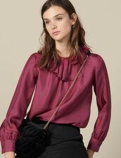 Top De Seda Con Gorguera Asimétrica : Tops & Camisas color Fucsia
