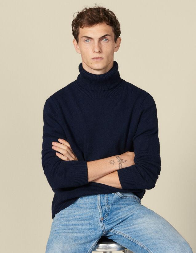 Jersey cuello vuelto de lana y cachemira : Jerseys & Cárdigans color Crudo