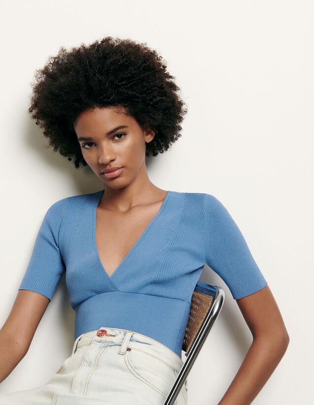 Jersey corto de escote cruzado : Jerseys & Cárdigans color Ciel