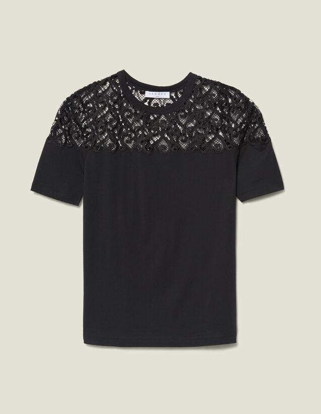 Camiseta Con Inserto De Guipur : Camisetas color Negro