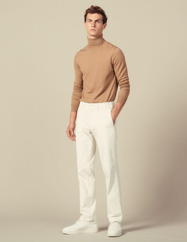 Pantalón Recto De Terciopelo : Colección de invierno color Crudo