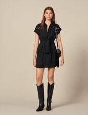 Vestido camisero con tachuelas de color : Vestidos color Negro