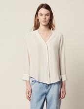 Camisa Escotada De Seda : Tops & Camisas color Crudo