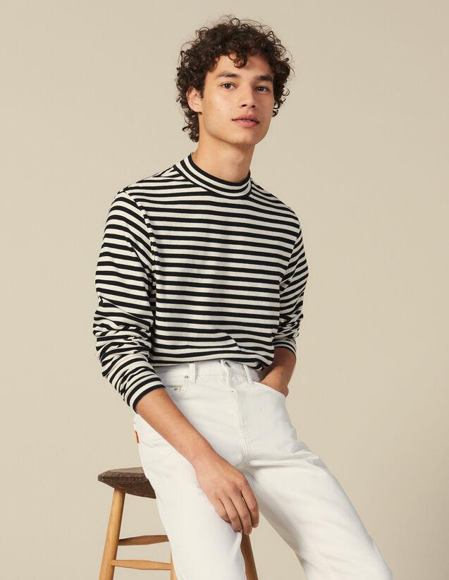 Camiseta De Rayas De Cuello Chimenea : Camisetas & Polos color Negro/Crudo