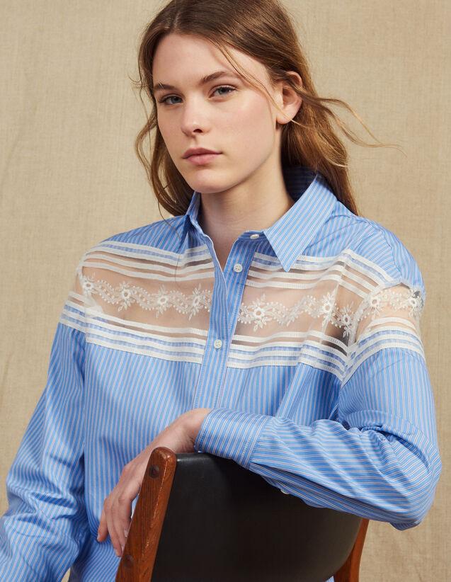 Camisa De Rayas Con Inserto De Encaje : Tops & Camisas color Azul