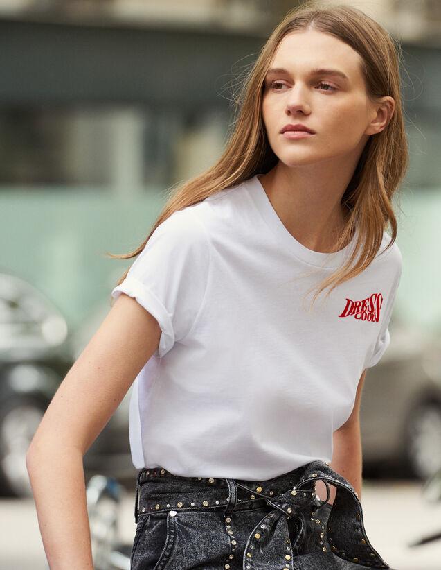 Camiseta De Algodón Con Mensaje : Toda la Ropa color Blanco