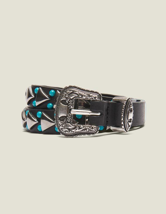 Cinturón Fino Con Hebilla Estilo Wéstern : Cinturones color Negro