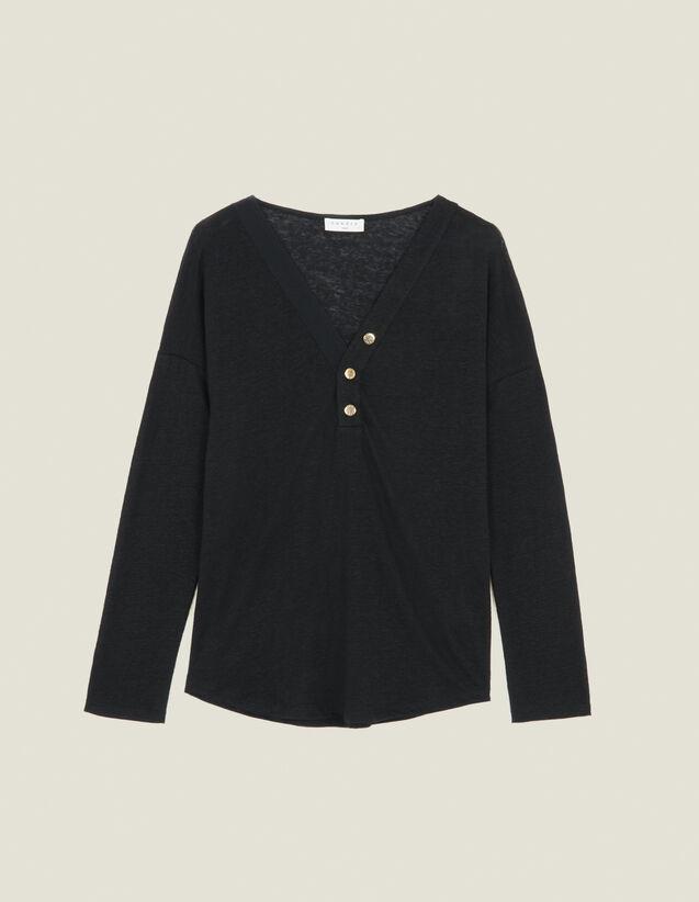 Camiseta De Lino De Manga Larga : FBlackFriday-FR-FSelection-30 color Negro