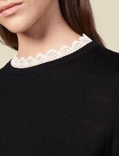 Jersey fino bordado con encaje : Jerseys & Cárdigans color Negro