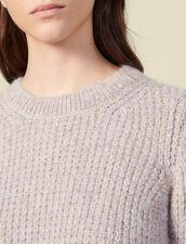 Jersey De Cuello Redondo Y Punto Perlado : Jerseys & Cárdigans color Gris