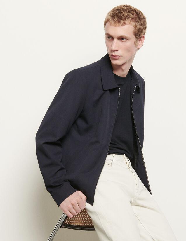 Cazadora de lana con cuello camisero : Colección de Verano color Marino