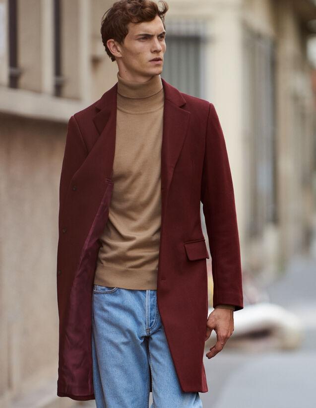 Abrigo largo con cierre de tres botones : Trenchs & Abrigos color Burdeos