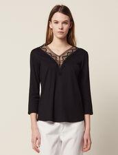 Camiseta Con Escote De Encaje : null color Negro