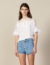Top Con Inserto De Encaje : LastChance-FR-FSelection color Blanco