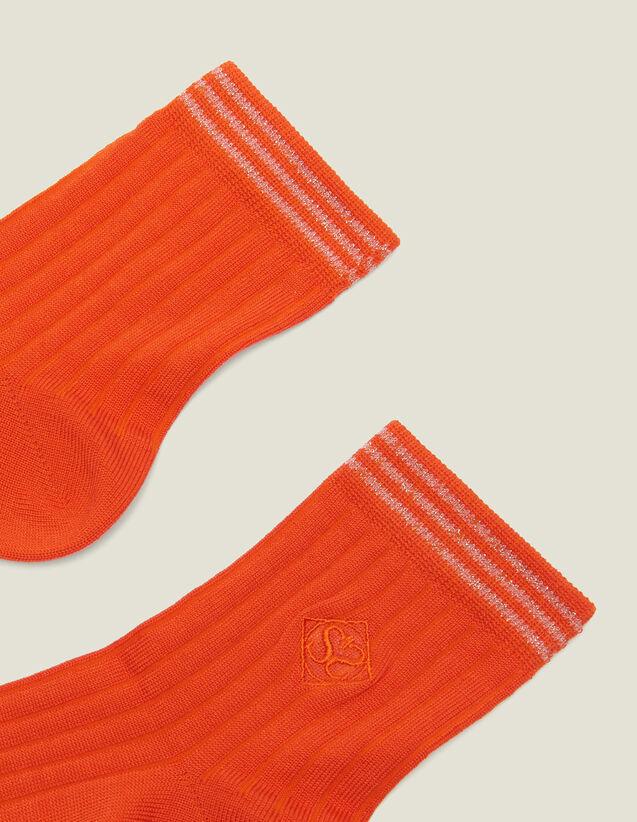 Calcetines De Algodón Con Bordado : null color Naranja Bermellón