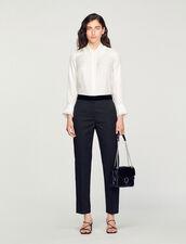 Camisa de seda, cuello bordado y plisado : Tops & Camisas color Crudo