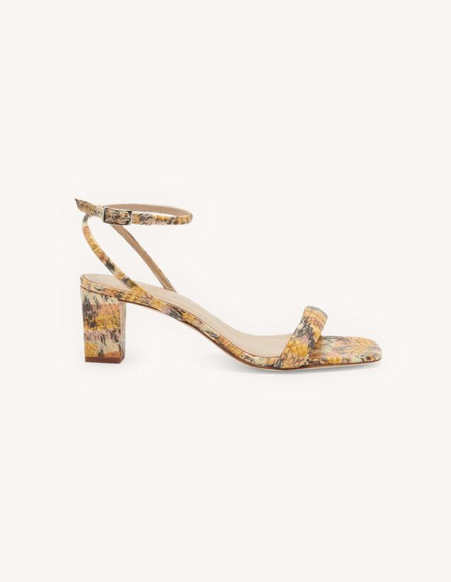 Sandalias de piel repujada : Todos Zapatos color Doré/Blush