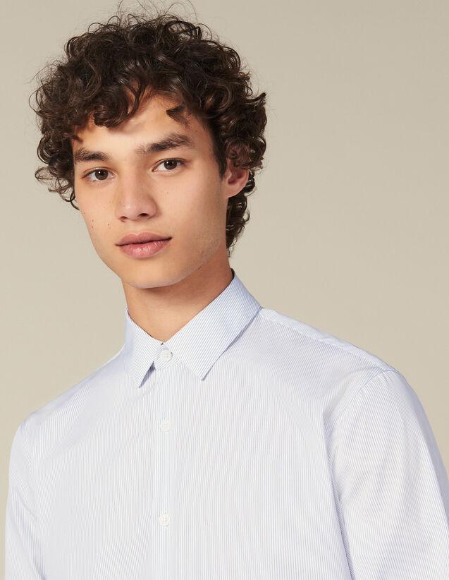 Camisa De Rayas Finas : Colección de Invierno color Blanco/Azul
