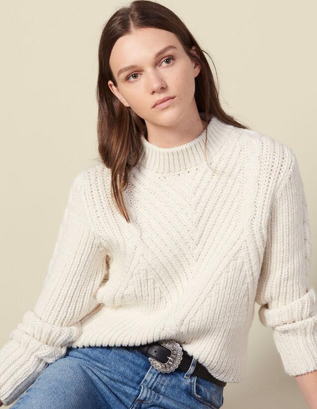 Jersey de lana de punto grueso : Jerseys & Cárdigans color Crudo