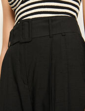 Pantalón de talle alto con cinturón : Pantalones color Negro