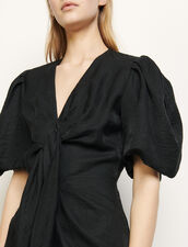 Vestido de lino anudable : Vestidos color Negro