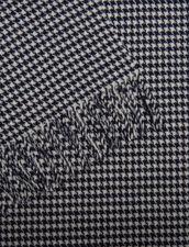 Bufanda De Lana Con Pata De Gallo : Bufandas color Marino/Crudo
