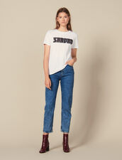 Camiseta con inscripción de tweed : FBlackFriday-FR-FSelection-30 color Blanco